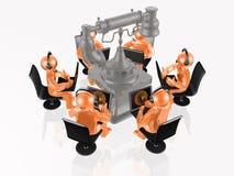 Апельсин укомплектовывает личным составом с компьтер-книжками и телефоном Стоковое Изображение