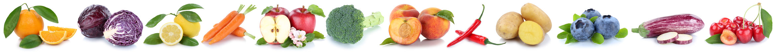 Апельсин яблока фруктов и овощей изолированный собранием в ряд Стоковое Изображение RF