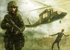 Апокалипсис пилота и зомби женщины Теплый зеленый цвет бесплатная иллюстрация