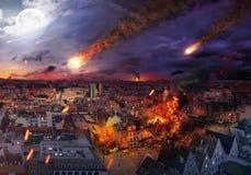 Апокалипсис причиненный метеоритом Стоковое Изображение
