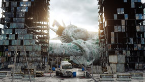 Апокалипсис США, Америки Нью-Йорк разрушенный взглядом, статуя свободы Концепция апокалипсиса перевод 3d стоковая фотография rf