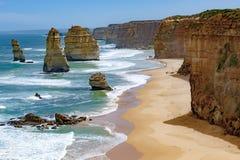 12 апостолов, Австралия, свет утра на апостолах горной породы 12 Стоковое Изображение