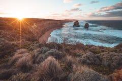 12 апостолов вдоль большой дороги океана, Виктории, Австралии Стоковые Изображения RF