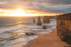 12 апостолов вдоль большой дороги океана, Виктории, Австралии Стоковые Фотографии RF