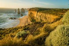 12 апостолов в Австралии на заходе солнца в лете Стоковые Изображения RF