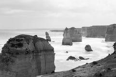 12 апостолов Monochrome, Виктория, Австралия Стоковое Изображение RF