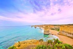 12 апостолов большой дорогой океана на сумраке Стоковое Изображение RF