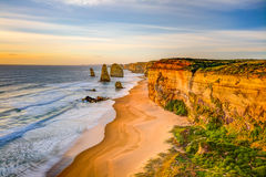12 апостолов на заходе солнца, Австралия Стоковое Изображение RF
