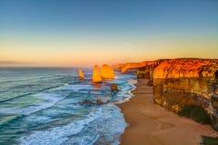 12 апостолов на заходе солнца, Австралия Стоковое фото RF