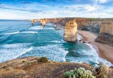 12 апостолов на зоре, Австралия Стоковые Изображения RF
