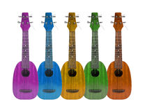 Аппаратура музыки гавайской гитары на белой предпосылке Стоковая Фотография RF
