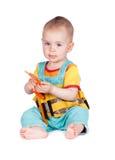Аппаратуры игрушки младенца и детей на белой предпосылке Стоковые Изображения RF