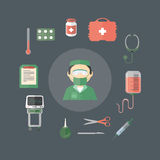 Аппаратуры инструментов плоского шаржа медицинские Стоковое Изображение
