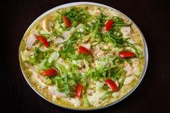 Аппетитная пицца с мясом цыпленка Стоковые Фото