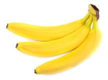 3 аппетитное и вкусные бананы изолированные на белой предпосылке Unpeeled все бананы Ингридиенты для питательных завтраков Стоковая Фотография