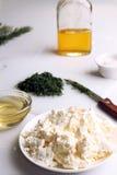 аппетитно Творог с прерванными фенхелем и оливковым маслом стоковые фото