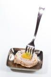 аппетитно Фуа-гра с персиком Творческая кухня стоковое изображение