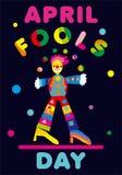 Апрель околпачивает приветствие дня с juggler Улучшите для поздравительной открытки, знамени или рекламы 1-ое -го апрель бесплатная иллюстрация