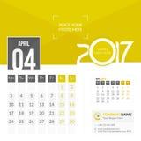 Апрель 2017 Календарь 2017 иллюстрация вектора