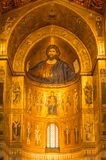 Апсида Христоса Pantocrator центральная в золоте в Santa Maria Nuova Стоковые Изображения RF