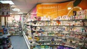 Аптека, косметики и интерьер здравоохранения видеоматериал