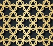 Арабская безшовная картина с влиянием 3D для праздничного дизайна брошюры, вебсайт, печать также вектор иллюстрации притяжки core Стоковые Изображения