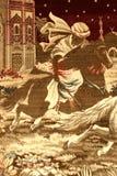Арабская имитация гобелена Всадник спины лошади Стоковое Изображение RF
