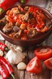 Арабская кухня: тушёное мясо овечки с овощами закрывает вверх в шаре Ve Стоковое Изображение RF
