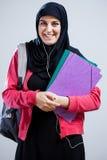 Арабская студентка идя к школе Стоковая Фотография
