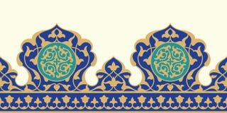 Арабская флористическая безшовная граница Традиционный исламский дизайн иллюстрация вектора