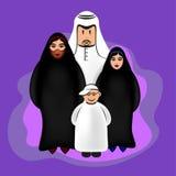 Арабские смешные характеры - счастливая семья Стоковые Изображения RF