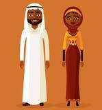 Арабские человек и женщина в традиционных одеждах также вектор иллюстрации притяжки corel Стоковые Изображения RF