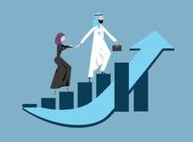 Арабский бизнесмен и женщина в аравийском национальном платье идя вверх по поднимая диаграмме роста дохода также вектор иллюстрац Стоковая Фотография RF
