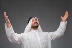 Арабский бизнесмен поднимая его руки Стоковая Фотография RF