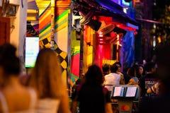 Арабский взгляд ночи Сингапура улицы стоковое изображение rf