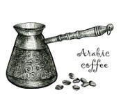 арабский кофе Черно-белый эскиз Стоковое Изображение RF