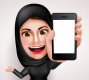 Арабский мусульманский характер вектора женщины держа мобильный телефон с пустым экраном Стоковые Изображения