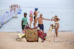 Арабский парень вместе с предложением верблюда их обслуживания для туристов на пляже около Красного Моря i Sharm El Sheikh, южный Стоковые Изображения RF
