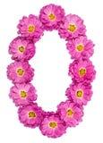 Арабский цифр 0, нул, от изолированных цветков хризантемы, Стоковое Изображение RF