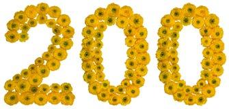 Арабский цифр 200, 200, от желтых цветков buttercu Стоковое Фото