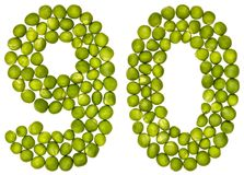 Арабский цифр 90, 90, от зеленых горохов, изолированных на белом ба стоковые фотографии rf