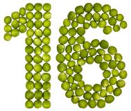 Арабский цифр 16, 16, от зеленых горохов, изолированных на белом b стоковое изображение rf