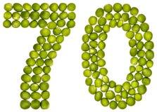 Арабский цифр 70, 70, от зеленых горохов, изолированных на белом b стоковые фото