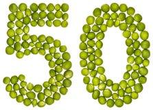 Арабский цифр 50, 50, от зеленых горохов, изолированных на белом bac стоковое изображение rf