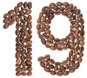 Арабский цифр 19, 19, от кофейных зерен, изолированных на whit Стоковые Фото