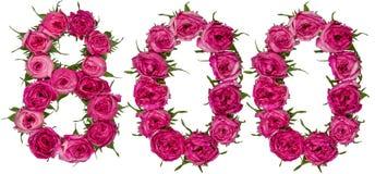 Арабский цифр 800, 800, от красных цветков поднял, iso Стоковые Изображения RF