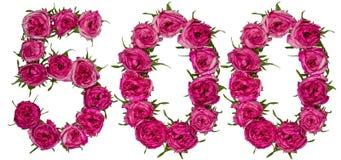 Арабский цифр 500, 500, от красных цветков поднял, isol Стоковое фото RF