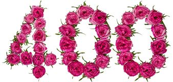 Арабский цифр 400, 400, от красных цветков поднял, isol Стоковое Фото