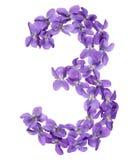 Арабский цифр 3, 3, от цветков альта, изолированных на whit Стоковая Фотография