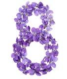 Арабский цифр 8, 8, от цветков альта, изолированных на whit Стоковое Фото